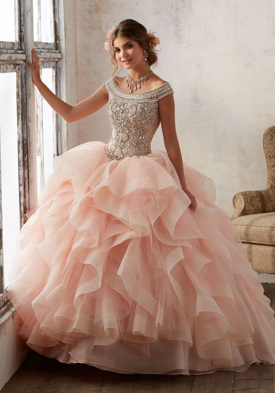 Bright Blush Pink Tulle Quinceanera Dresses Ball Gowns Strapless ...