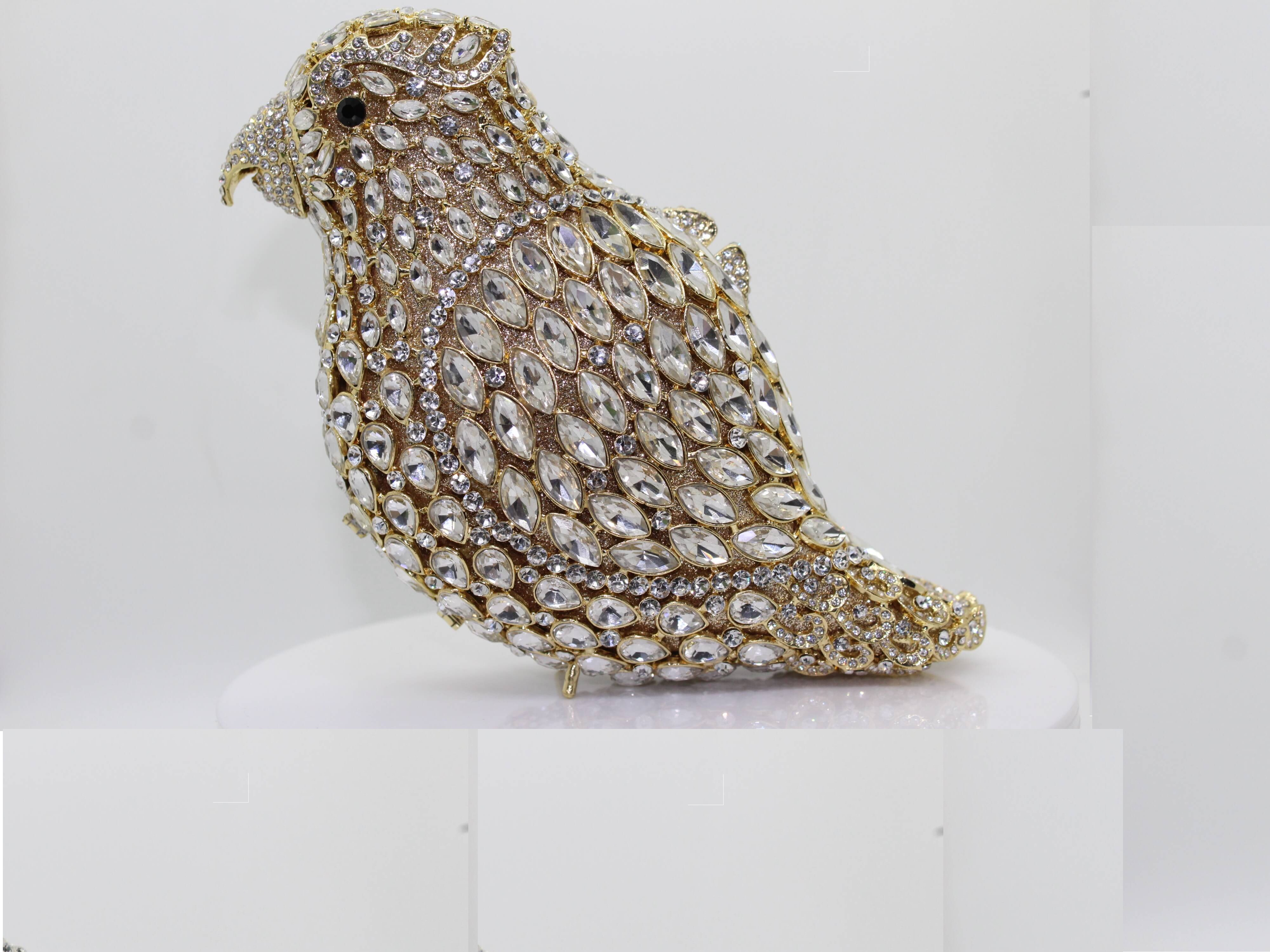 Animal Parrot Crystal Clutch
