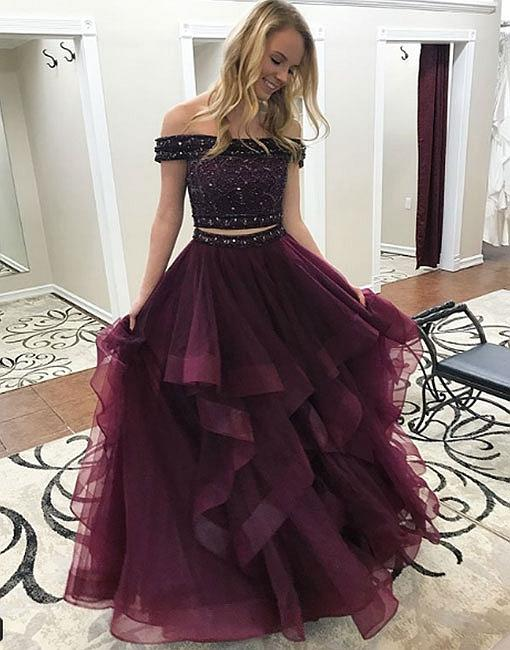 fc774a00bfe8 Stylish A-Line Two-Piece Off-Shoulder Burgundy Long Prom/Evening ...