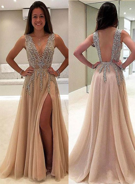 370e9ceecfe Sexy A Line V Neck Rhinestone Prom Dress with Slit