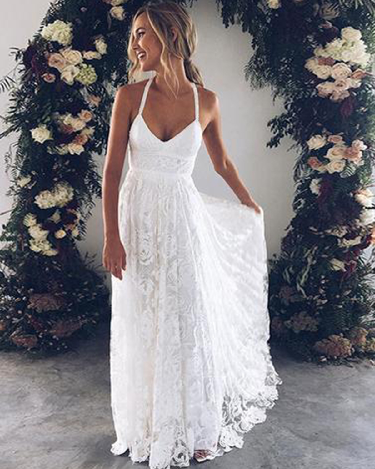 White Flower Lace V Neck Long Summer Beach Prom Dress