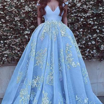 686f3cf0da58 Off shoulder v neck backless light blue a-line floor length custom long  evening prom
