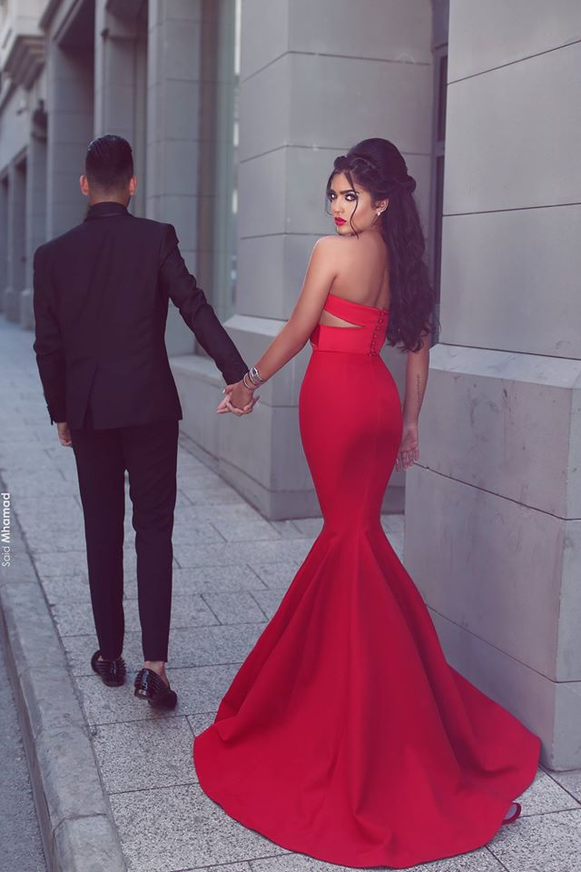 cccfd2816bf0 ... Sexy Mermaid Red Two Pieces Satin prom dress new style fashion evening  gowns for teens girls ...