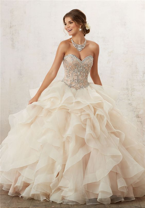 Charming Beaded Champagne Prom Dress,Organza Layered Evening Gown ...
