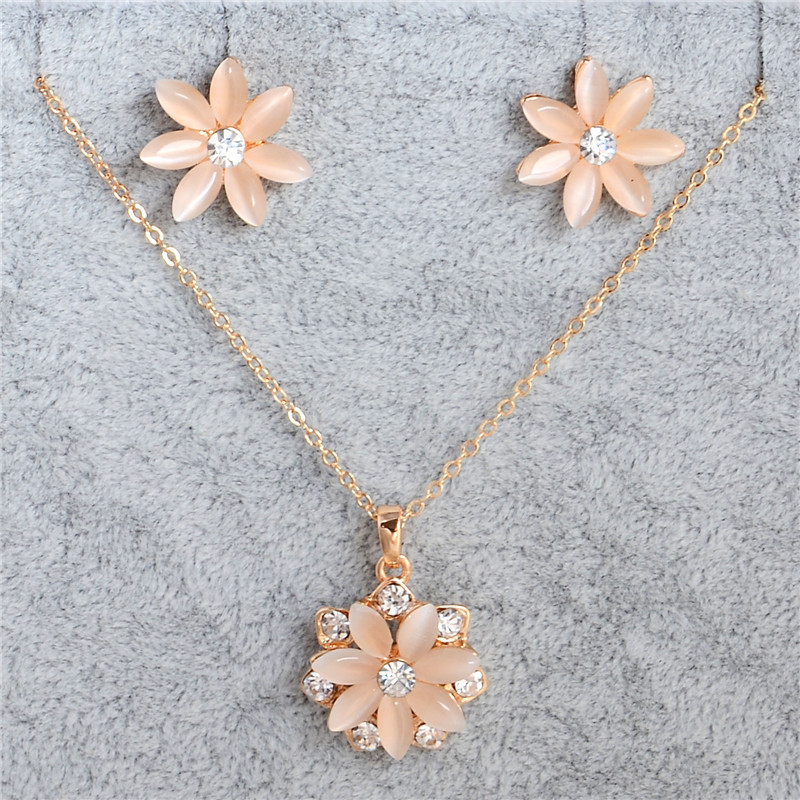 1143100de17779 pastel pink cherry blossom daisy flower cat eye gold tone rhinestone earring  necklace set kawaii gyaru