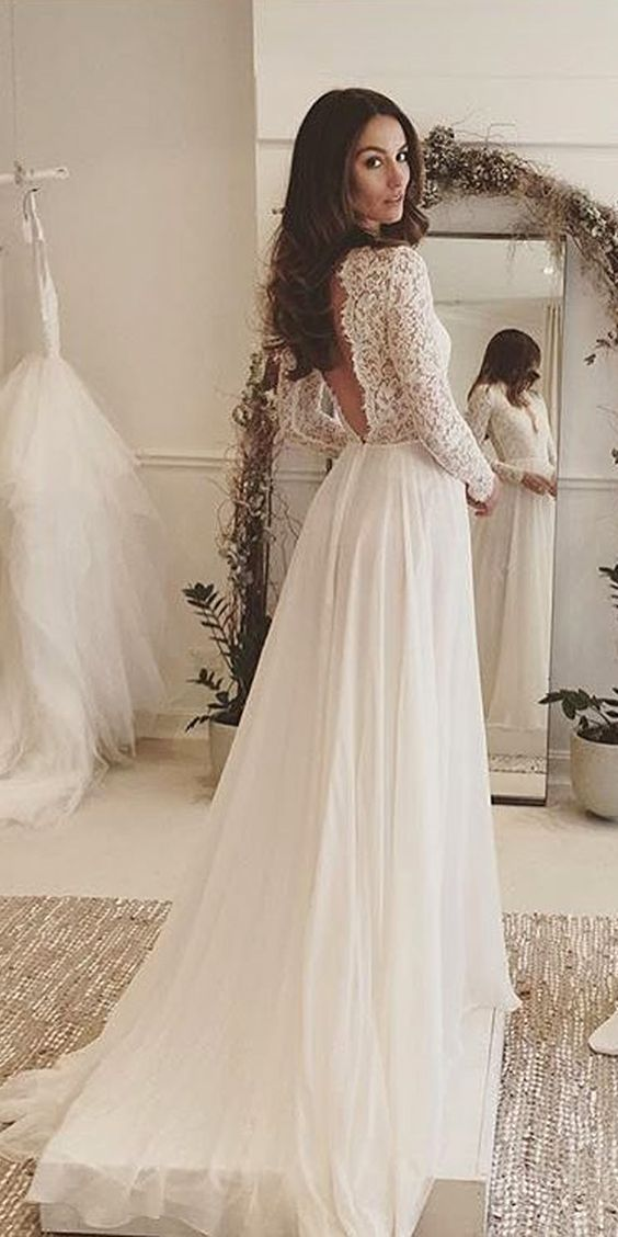 Elegant White Lace Long Sleeves V Neck V Back Sexy Wedding