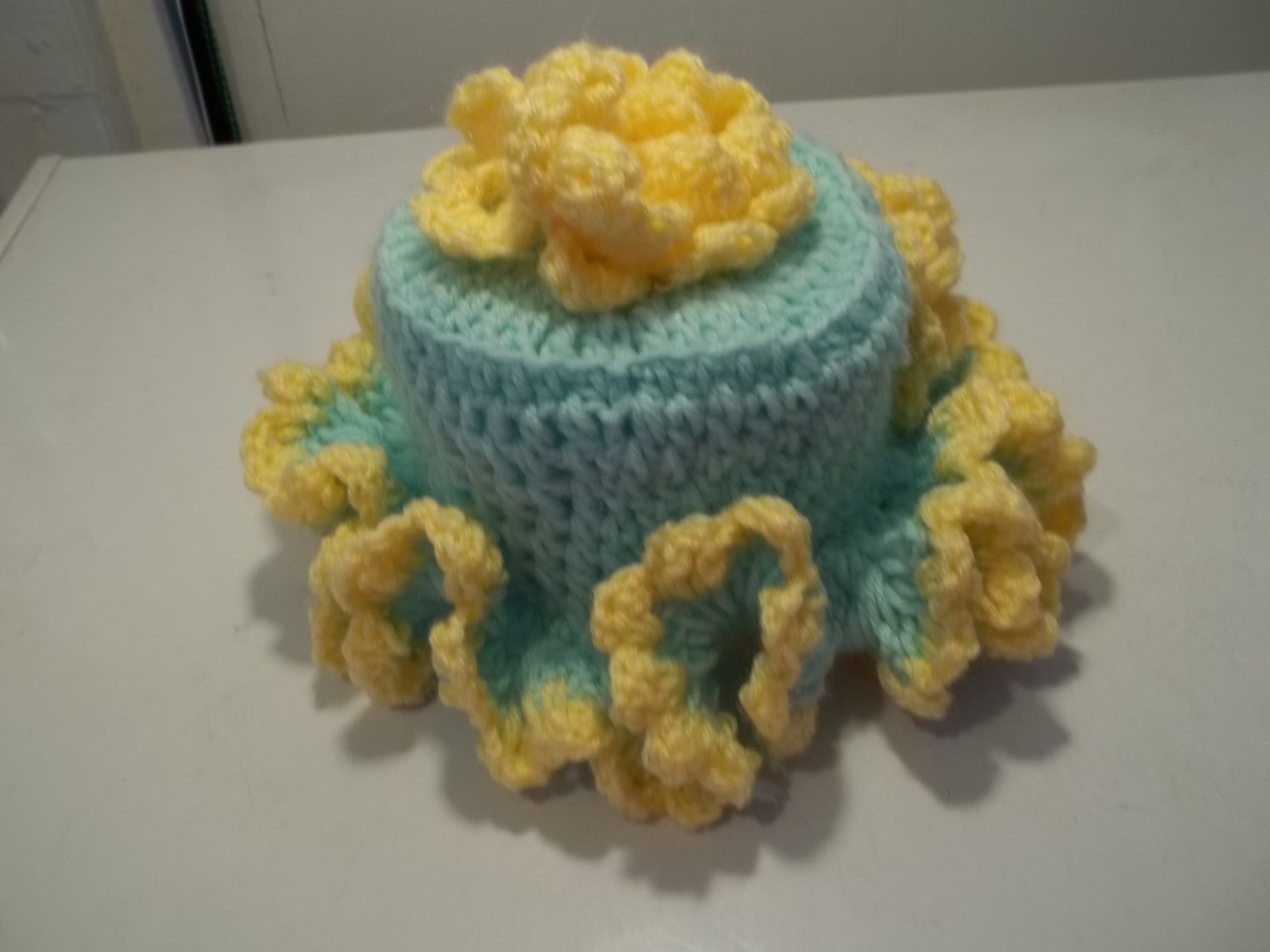 Toilet Paper Roll Cover Crochet Blue An Yellow Flower On Storenvy