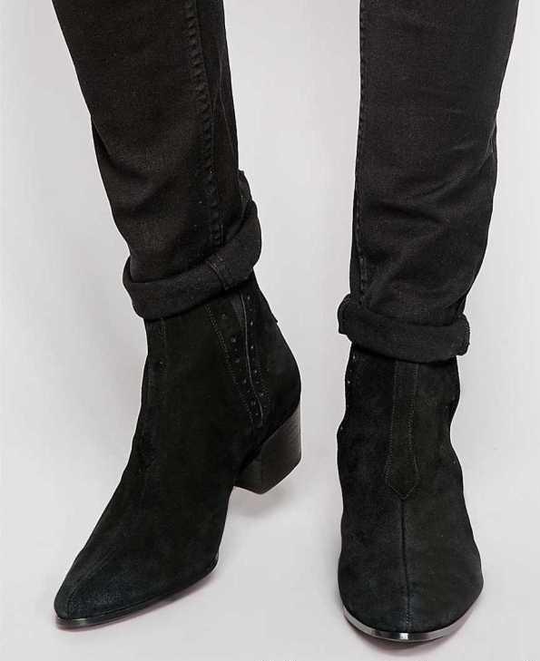 Men Black Suede Chelsea Boots, Men