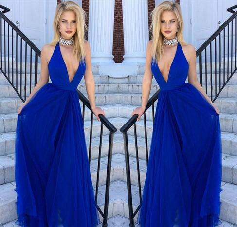 5a41fb4066 2018 Cheap Royal Blue Evening Dress Sexy Deep-V Neck Halter Beaded ...