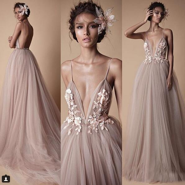 08ff398c0ee55 2018 Berta Evening Wear Formal Dresses Sheer Tulle Lace Floral Spaghetti  Sweep Train Backless Holiday Party Prom Dress on Storenvy
