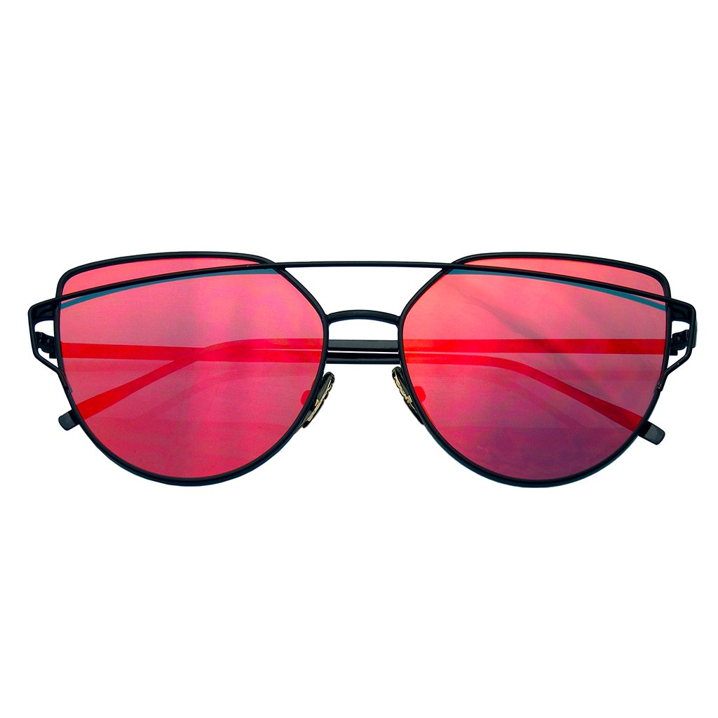 94d85e2876 Cat Eye Mirrored Flat Lenses Aviator Sunglasses Metal Frame Womens Shades -  Thumbnail 1 ...