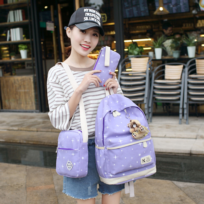 e24561c0aea Fashion Star Backpacks Set Canvas Printing Backpack Women Cute Lightweight Backpack  Middle High School Bags for Teenage Girls Bag on Storenvy
