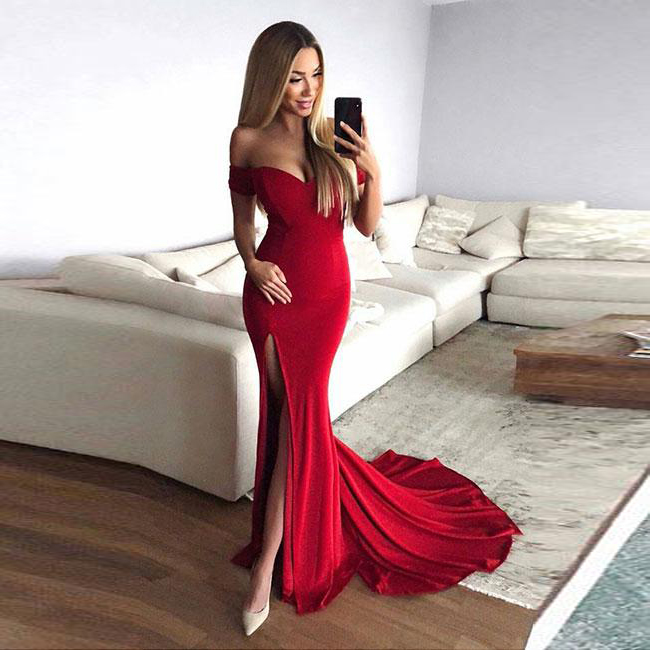 Sexy Red Mermaid Formal Evening Gown Off The Shoulder Slit Prom