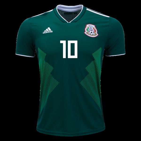 68672283d Giovani dos Santos #10 Mexico National Team Home Soccer Jersey 2018 ...
