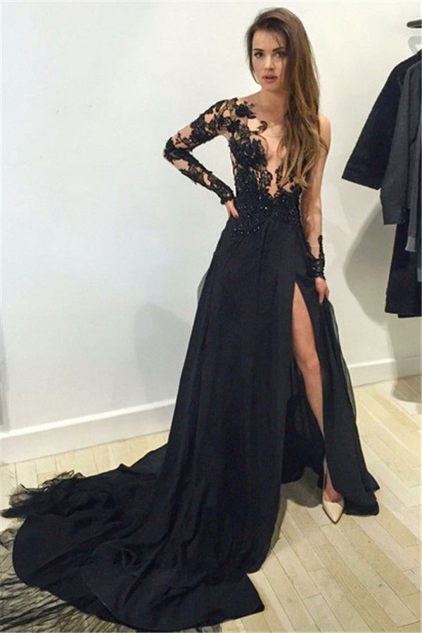 f01ef2dc33 Graceful Long Sleeve Prom Dress Illusion Sheer V Neck Side Slit ...