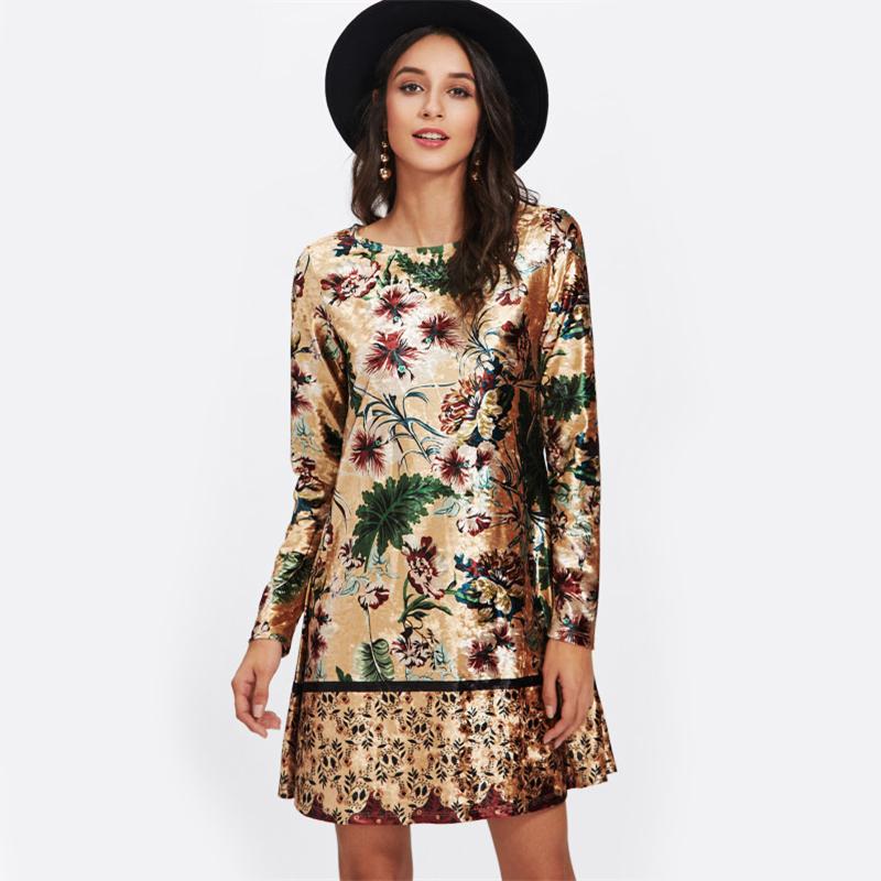 3feb4ec01b Mixed Print Velvet Straight Long Sleeve Floral Tunic Dress · Ryvic ...