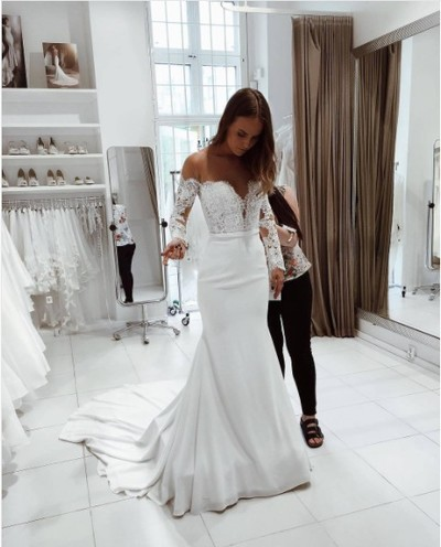 18ac49b1ae7f Charming Mermaid Off-Shoulder Long Sleeves White Wedding/Prom Dress with  Lace