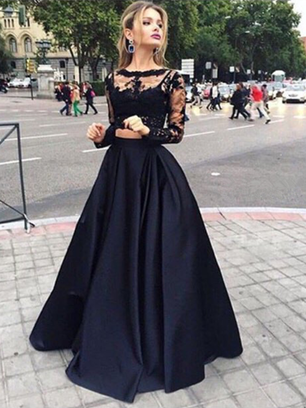 Custom Made Round Neck Long Sleeves 2 Pieces Black Lace Prom Dresses ...
