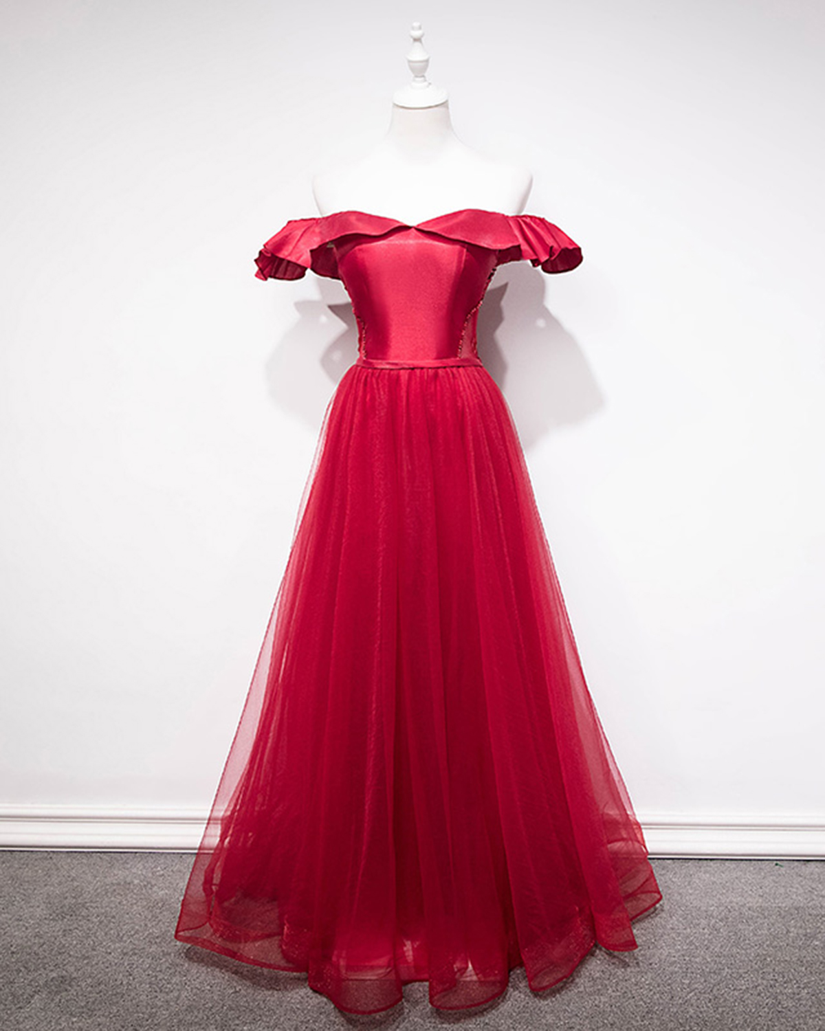 068a0d2c294 Cheap Prom Dresses by SweetheartDress · Cute red tulle off shoulder ...