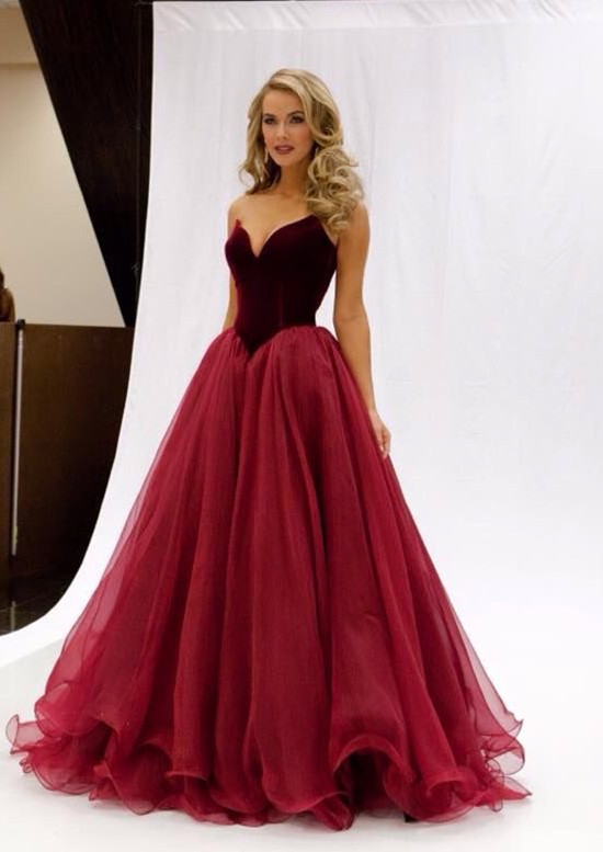 Long Red Prom Dresses, Mermaid Organza Prom
