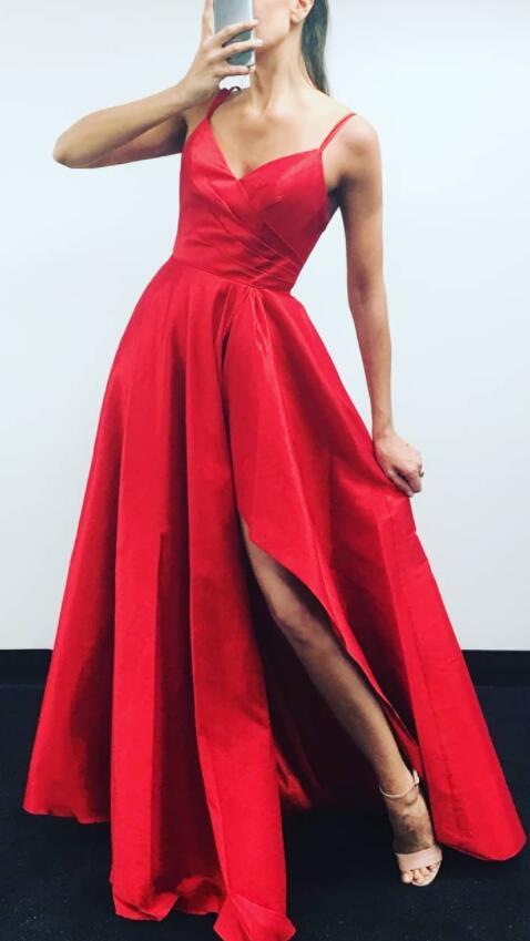 adbf2f3502d3 Gorgeous Straps Red Long Prom Dress with Slit · miyasbridel