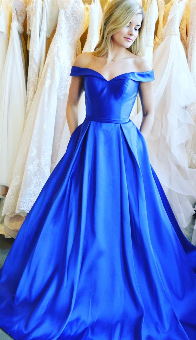 b5f3bac2351 Gorgeous Off the Shoulder Royal Blue Satin Long Prom Dress with Pockets