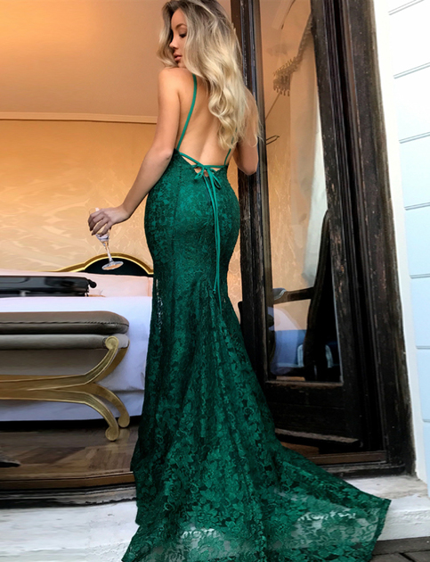 Teal Green Prom Dress Mermaid Lace Prom Dress Lace Back