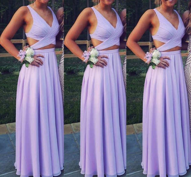 Custom Made 2 Pieces Lavender Prom Dresses Lavender Formal Dress