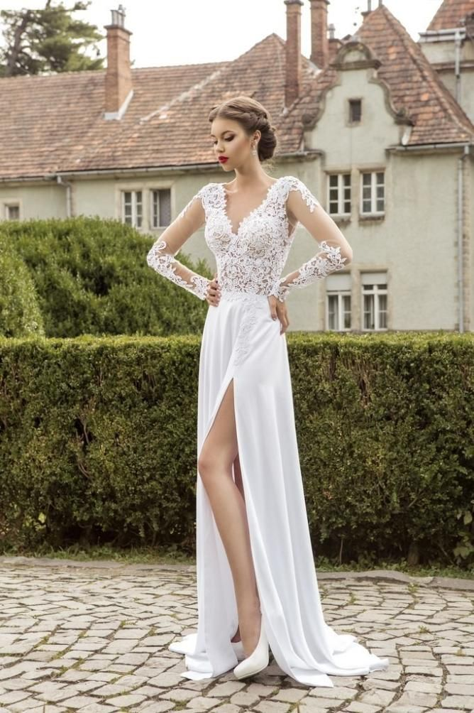 White Wedding Dresses A Line Wedding Gown With Long Sleeves Lace ...