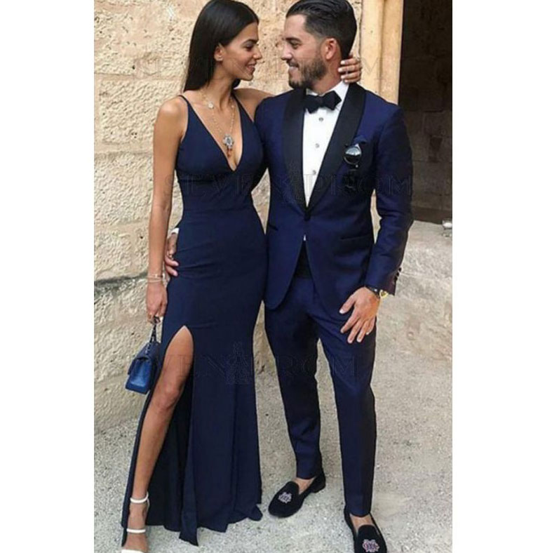 Sexy V Neck Slit Side Long Navy Blue Prom Dresses On Storenvy