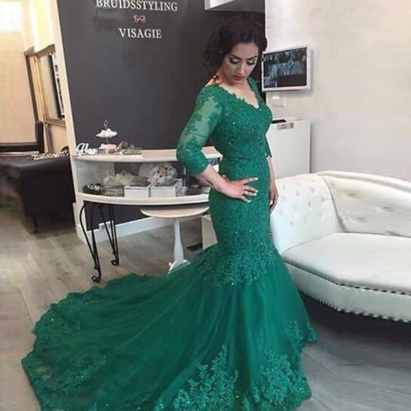 Formal Evening Gown Custom V Neckline Long Sleeves Wedding Dresses