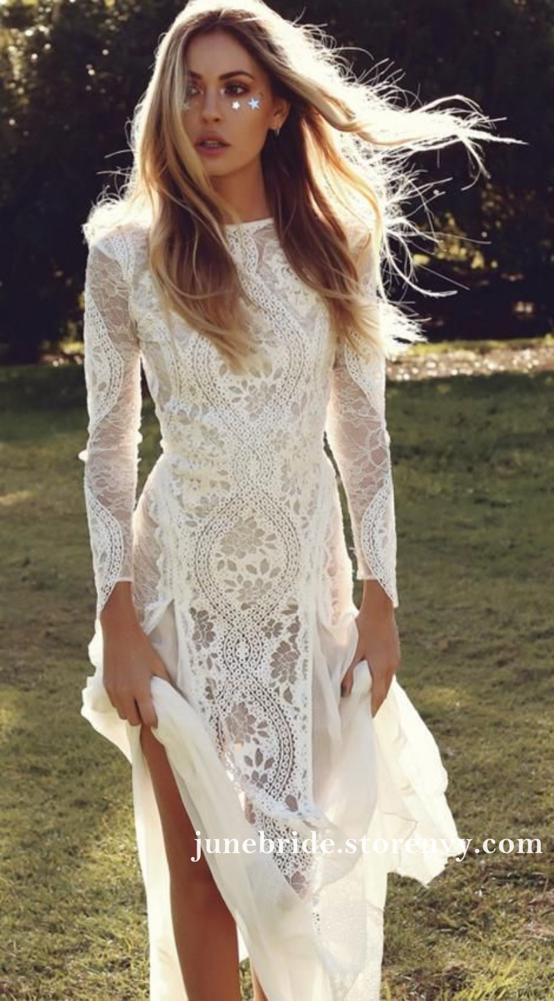 Vintage Lace Boho Wedding Dresses Long Sleeve Backless Bridal Gowns
