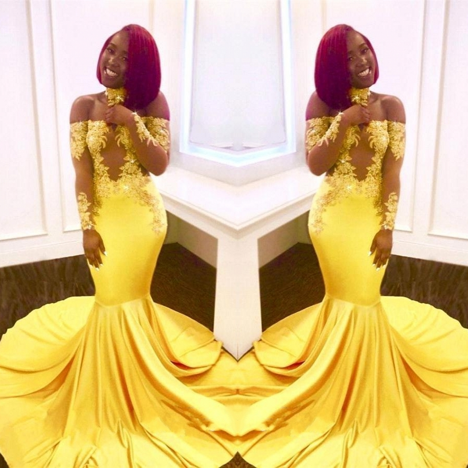 6e5c8459f14 Amazing Yellow Mermaid Prom Dresses with Choker on Storenvy
