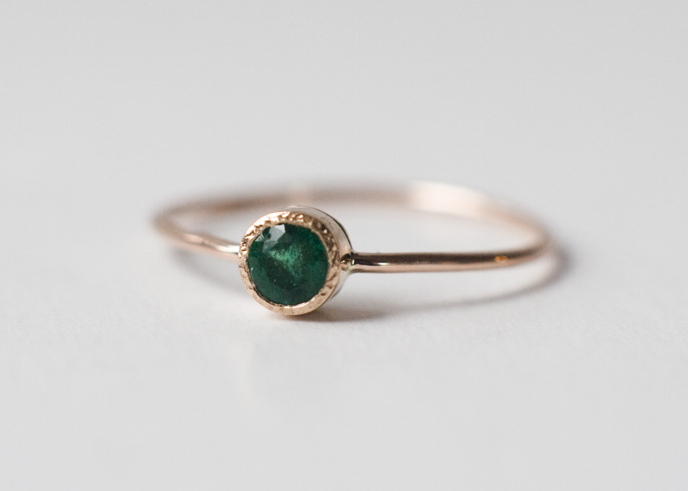 321ae1add602f Dainty Emerald Ring, Emerald Engagement Ring, 14k gold ring, Solitaire  ring, Green gemstone ring, Anniversary gift, minimalist jewelry from Arpelc  ...