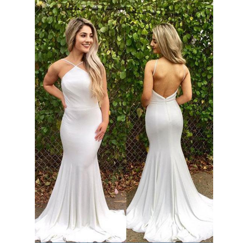 Fitted White Halter Formal Evening Gown Jersey Wedding Party Dress