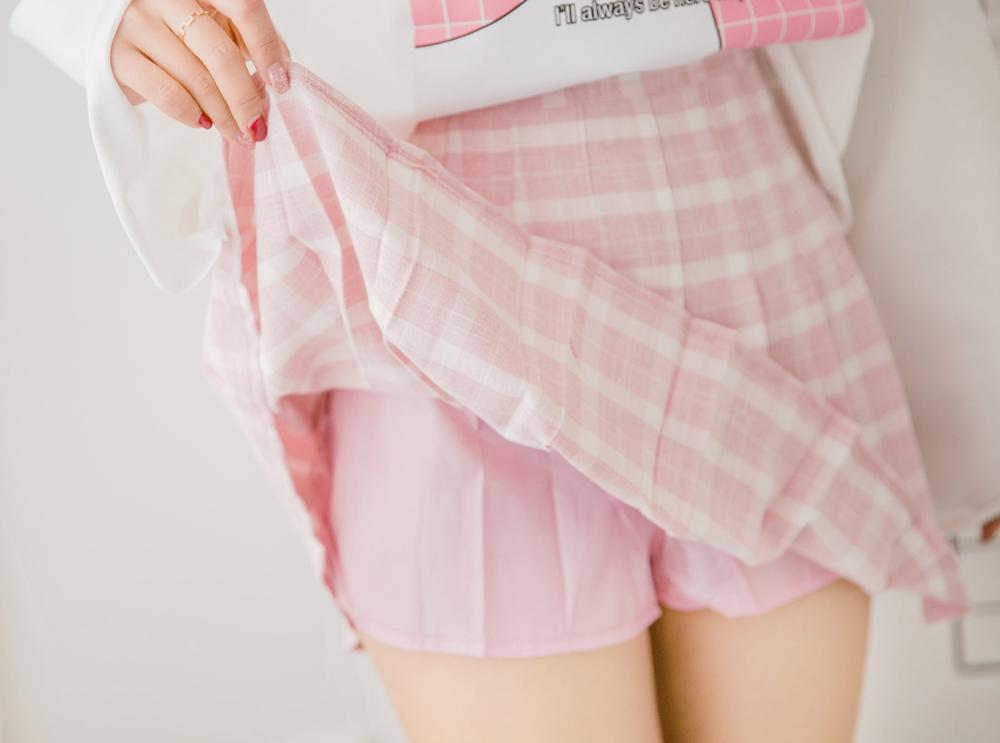 52c5aa206 Pink Lattice High-waist Pleated Skirt Women Mini Skirt - Thumbnail 1 ...