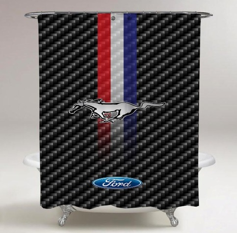 Ford Mustang Logo Striped Print On Custom Shower Curtain
