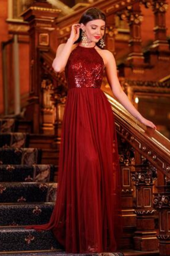 34747311096a 2018 Burgundy Halter Prom Dresses,Sequined Prom Gown,Burgundy Prom Dresses,Chiffon  Prom