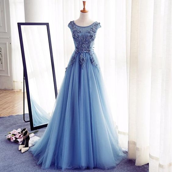 e828383bf5df Blue long prom dresses, cap sleeve prom dresses, tulle prom dresses 2019