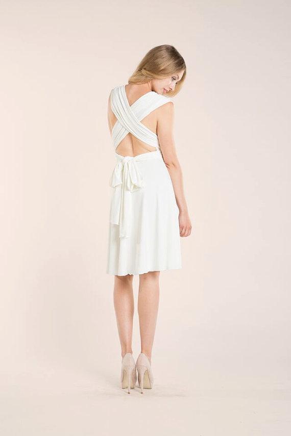 2018 Short Wedding Dress Knee Length White Dress Ivory Dress