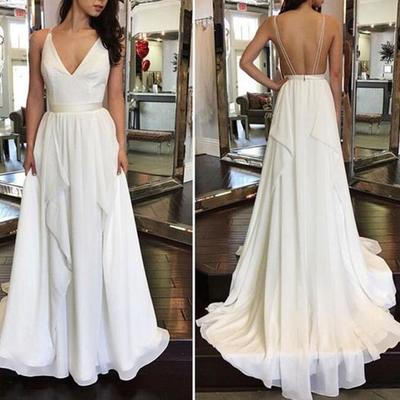 2018 white chiffon plunge v spaghetti straps floor length ruffled a-line formal  dress featuring 819e942fc