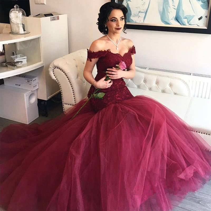 e40c12412305 Burgundy Tulle Prom Dresses,Mermaid Lace Prom Dress,Off-the-Shoulder Evening
