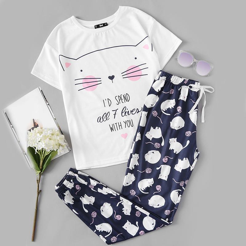 42faf2351458 Cute Sleepwear Women Pajama Sets Women Cat Print Short Sleeve Round Neck  White Tee and Blue Pants Pajama Set 32834222739 on Storenvy