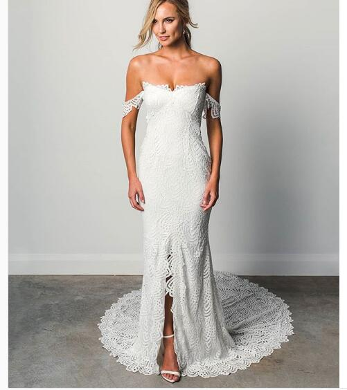 b1a0552cd6ed Boho Wedding Dress,Off Shoulder Lace Wedding Dress, Long Wedding Dresses  Bridal Dress
