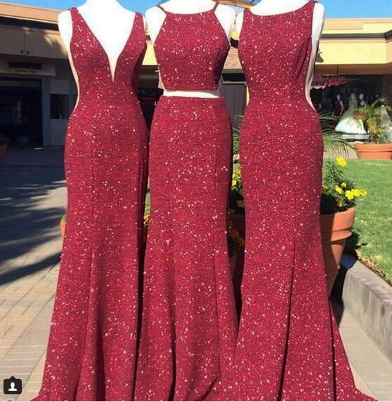 70c20d30b1cb9 3 Different Style Burgundy Wine Red Prom Dresses Sequins Lace Sleeveless  Evening Formal Gowns