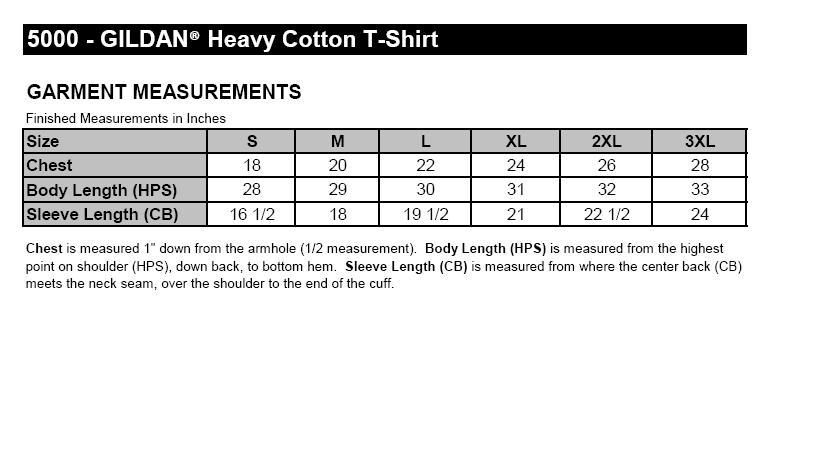 Gildan Heavy Cotton 5000 Size Chart Gildan T Shirt Size Chart Best