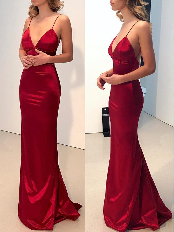 28aa16fe7b73 2018 Sexy Mermaid Prom Dress, Red Spaghetti Straps Long Prom Dresses  Evening Dress, Open