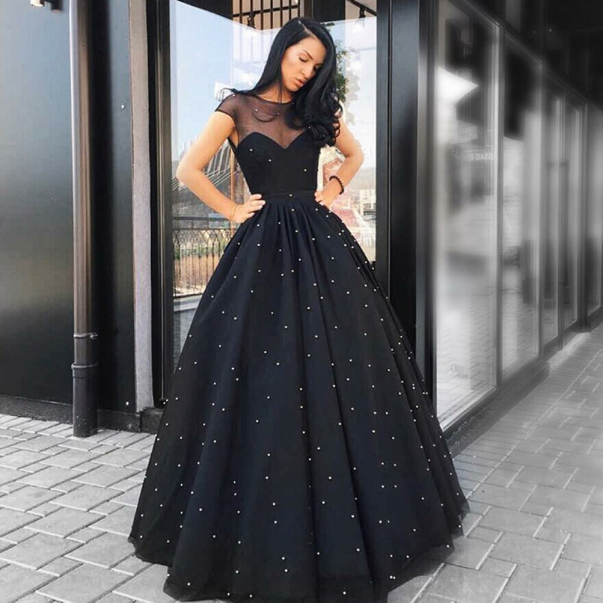7d0f59ebfb7e Black Long Prom Dress Ball Gown Cap Sleeve Beaded Sheer Jewel Neck Floor  Length Formal Evening