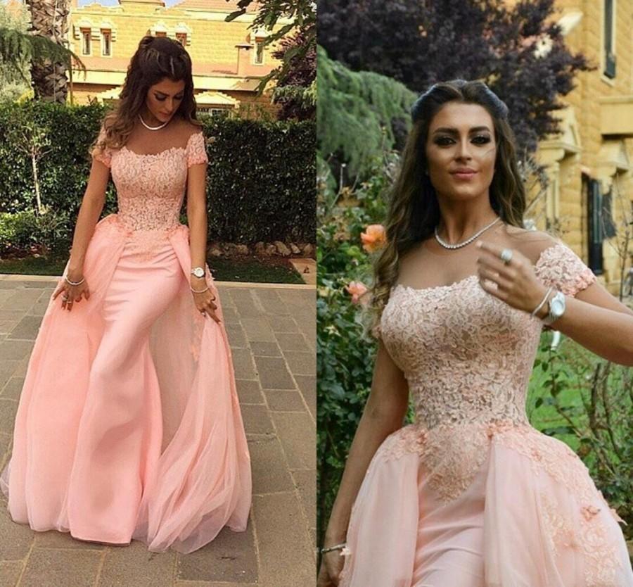 91f44c5fd27 Arabic Illusion Neckline Top Lace Blush Pink Prom Dressed Short Sleeves