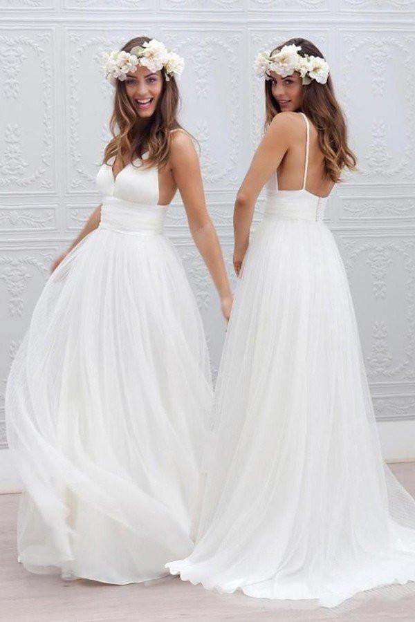 2018 Sexy Backless Spaghetti Straps Beach Wedding Dresses Simple Long Custom Wedding Gowns Affordable Bridal Dresses From Misszhu Bridal